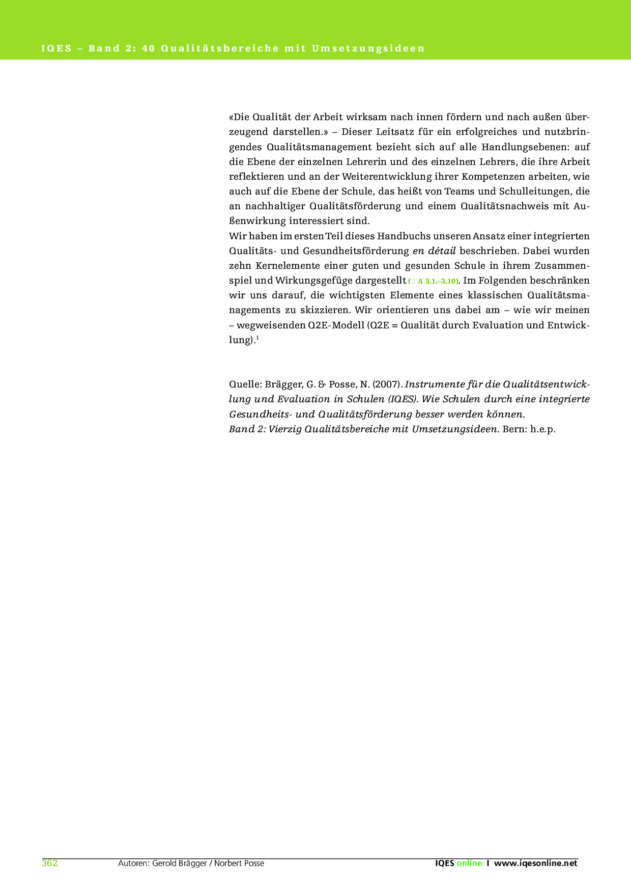 Qualitätsmanagement der Schule – IQES