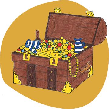 Illustration einer mit Gold und Juwelen gefüllten Schatzkiste
