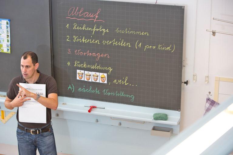 Lehrer vor Wandtafel mit Ablauf für Buchvorstellungsrunde