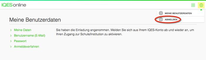 Screenshot Abmelden nach Einladung angenommen