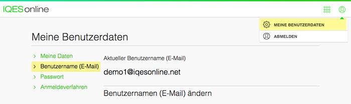 Screenshot Benutzername E-Mail-Adresse anzeigen