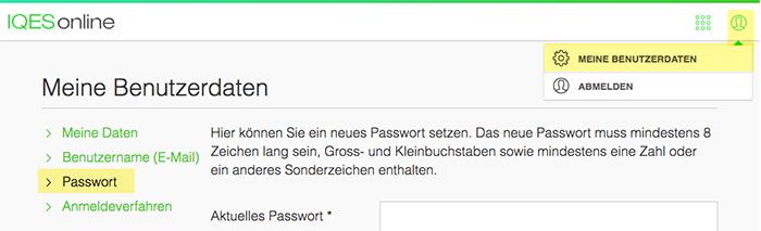 Screenshot Meine Daten Passwort