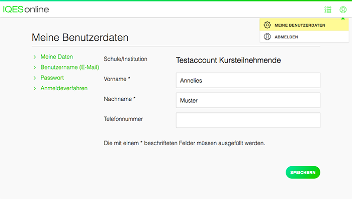 Screenshot Meine Daten