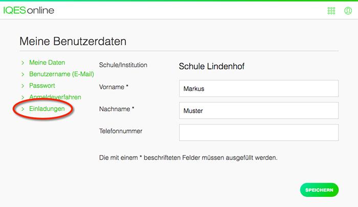 Screenshot Menupunkt Einladungen