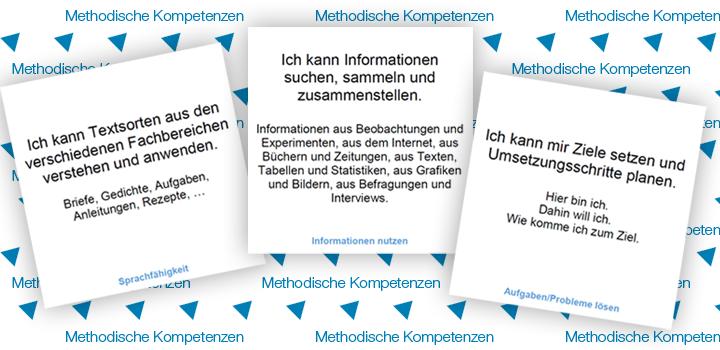 drei Beispielkarten zu den Methodischen Kompetenzen