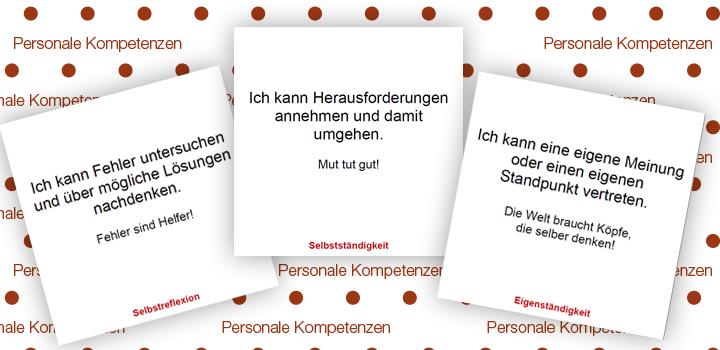 drei Beispielkarten zu den Personale Kompetenzen