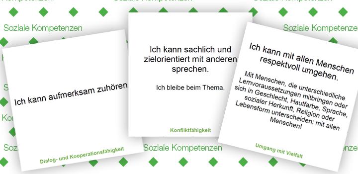 drei Beispielkarten zu den Soziale Kompetenzen
