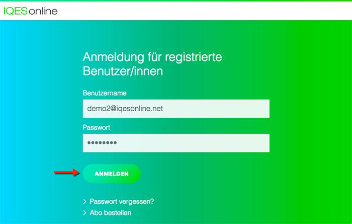 Screenshot Zugangsdaten eingeben