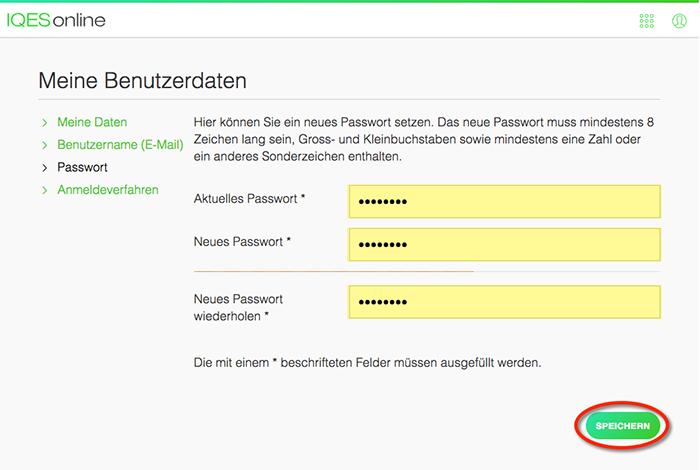 Screenshot altes und neues Passwort