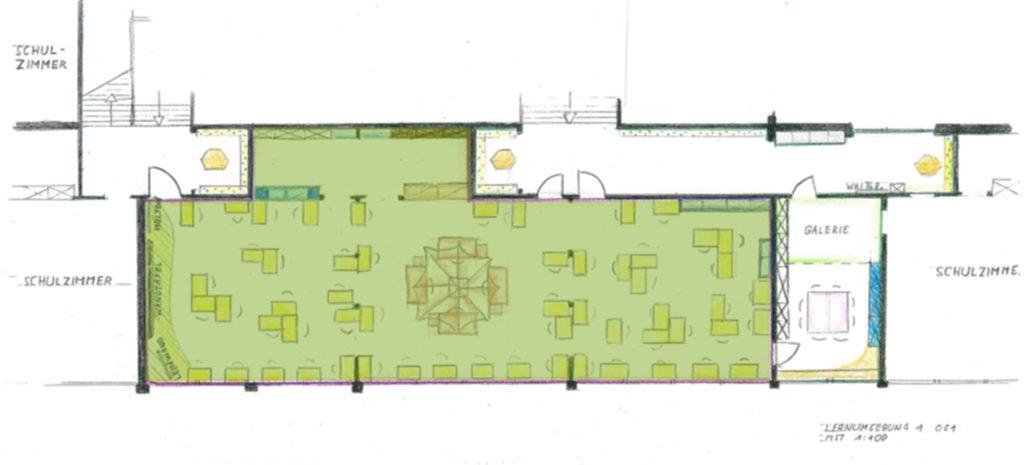 Flüsterzone eingezeichnet auf der Planungsskizze