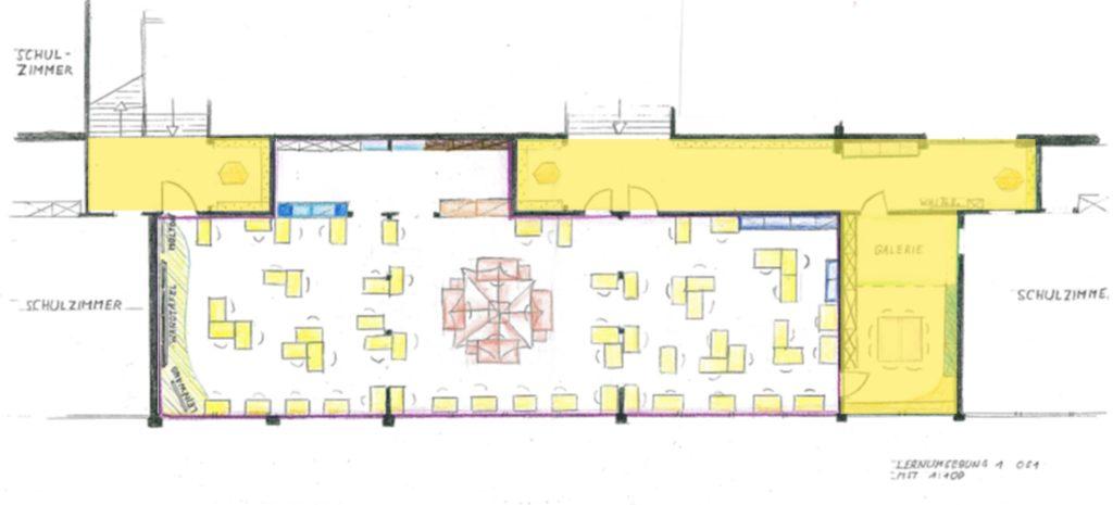 Gesprächszone eingezeichnet auf der Planungsskizze