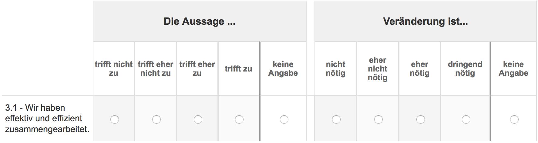 Screenshot Antwortskala Matrixfragen