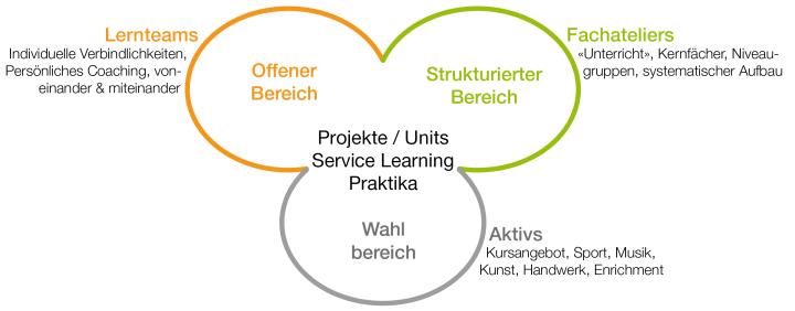 Übersicht über Projekte/Units Service Learning Praktika: Lernteams im Offenen Bereich, Fachateliers im Sturkturierten Bereich, Aktivs im Wahlbereich