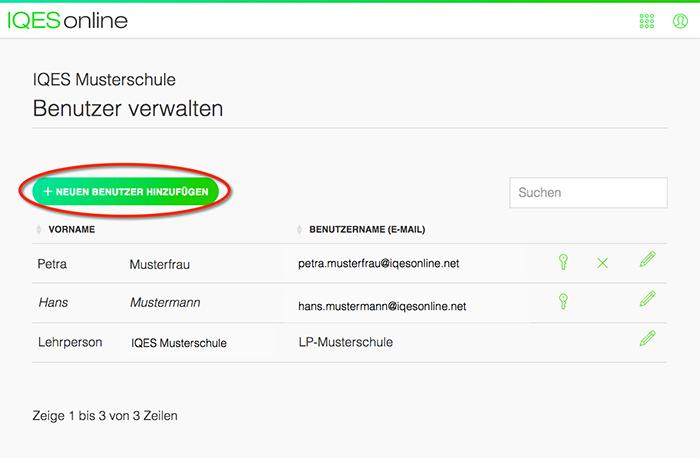 Screenshot Benutzerliste
