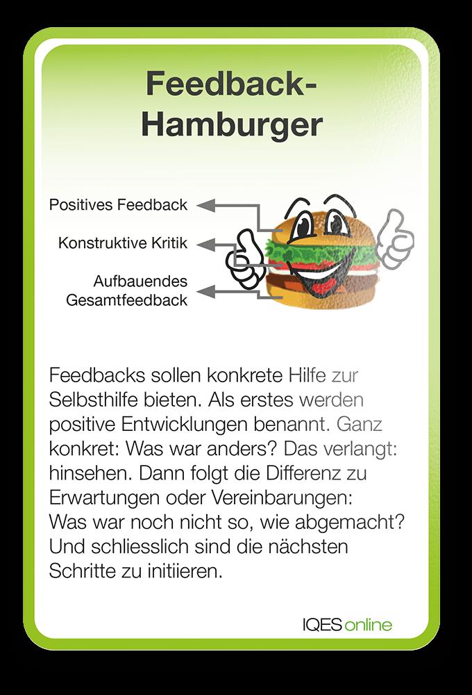 Lernverständnis Karte Feedback-Hamburger