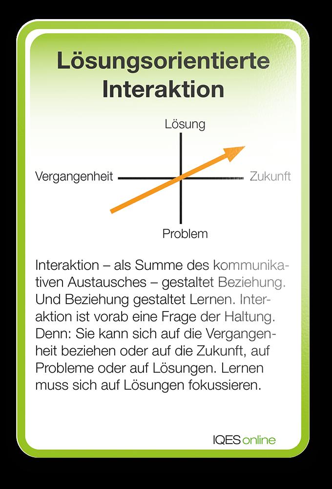Lernverständnis Karte Lösungsorienterte Interaktion