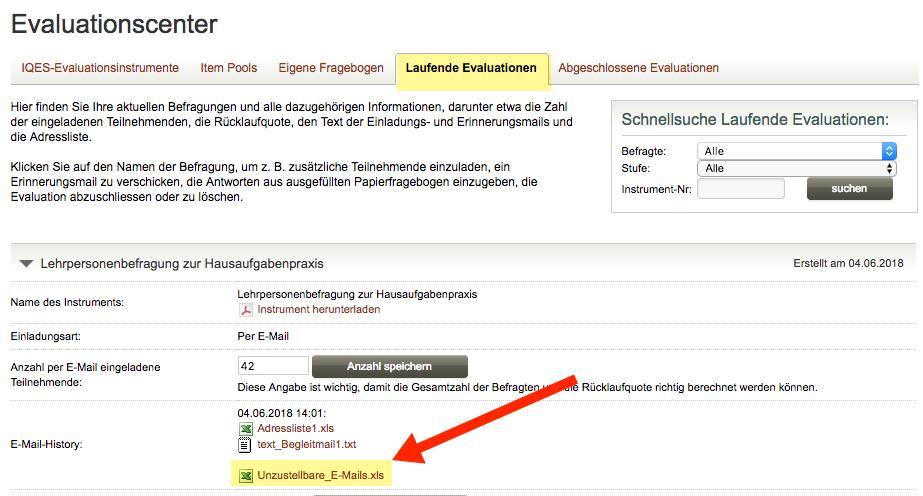 Screenshot Laufende Evaluationen Unzustellbare E-mails (Bounces)