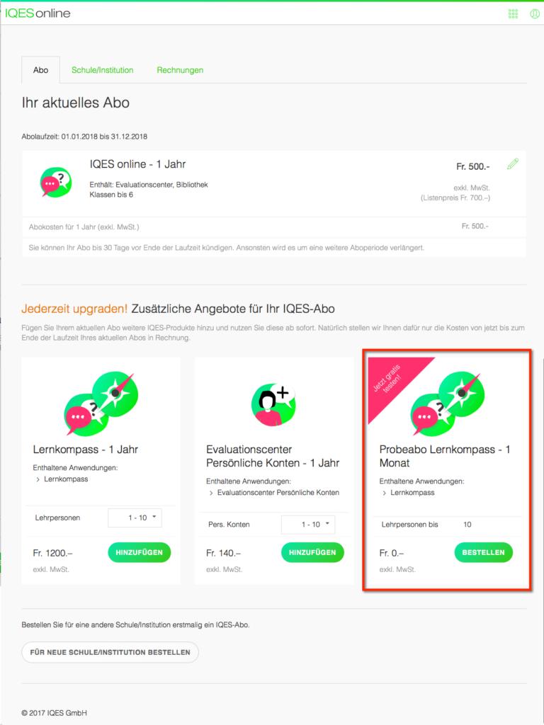 Screenshot Lernkompass-Probeabo bestellen