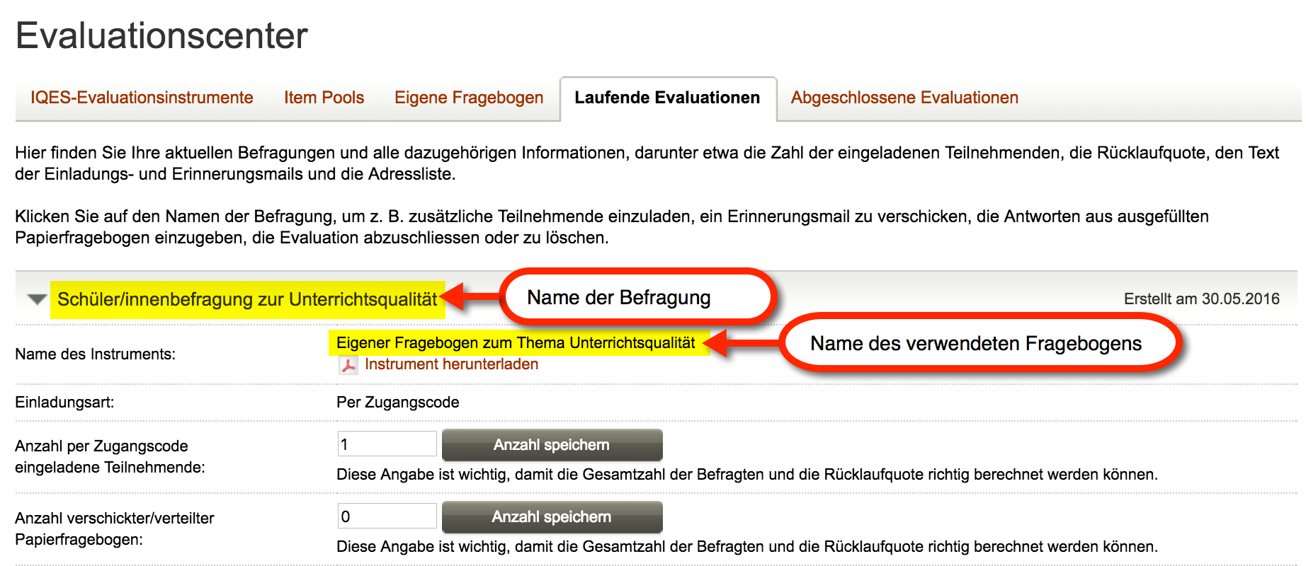 Screenshot Name des Instrumentes