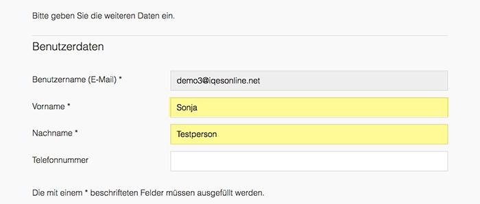 Screenshot Vorname und Nachname einfügen