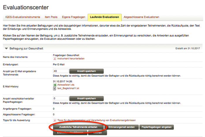 Screenshot Zusätzliche Teilnehmende per Email einladen