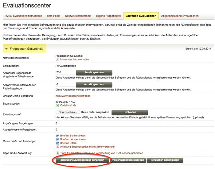 Screenshot Zusätzliche Zugangscodes generieren
