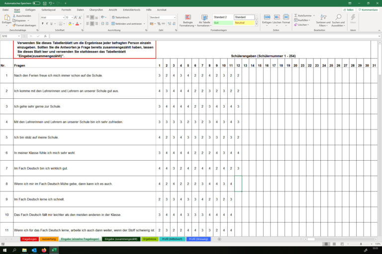 Screenshot Excel-Instrument Befragung auswerten