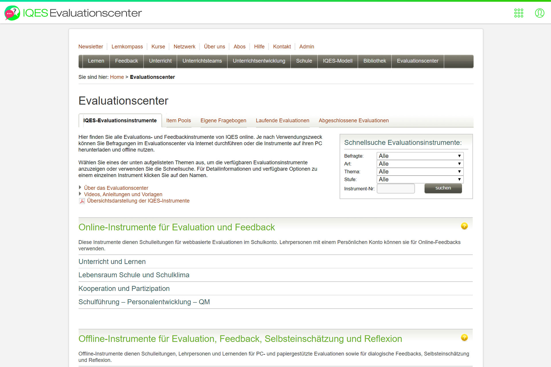 Screenshot Evaluationscenter IQES-Evaluationsinstrumente