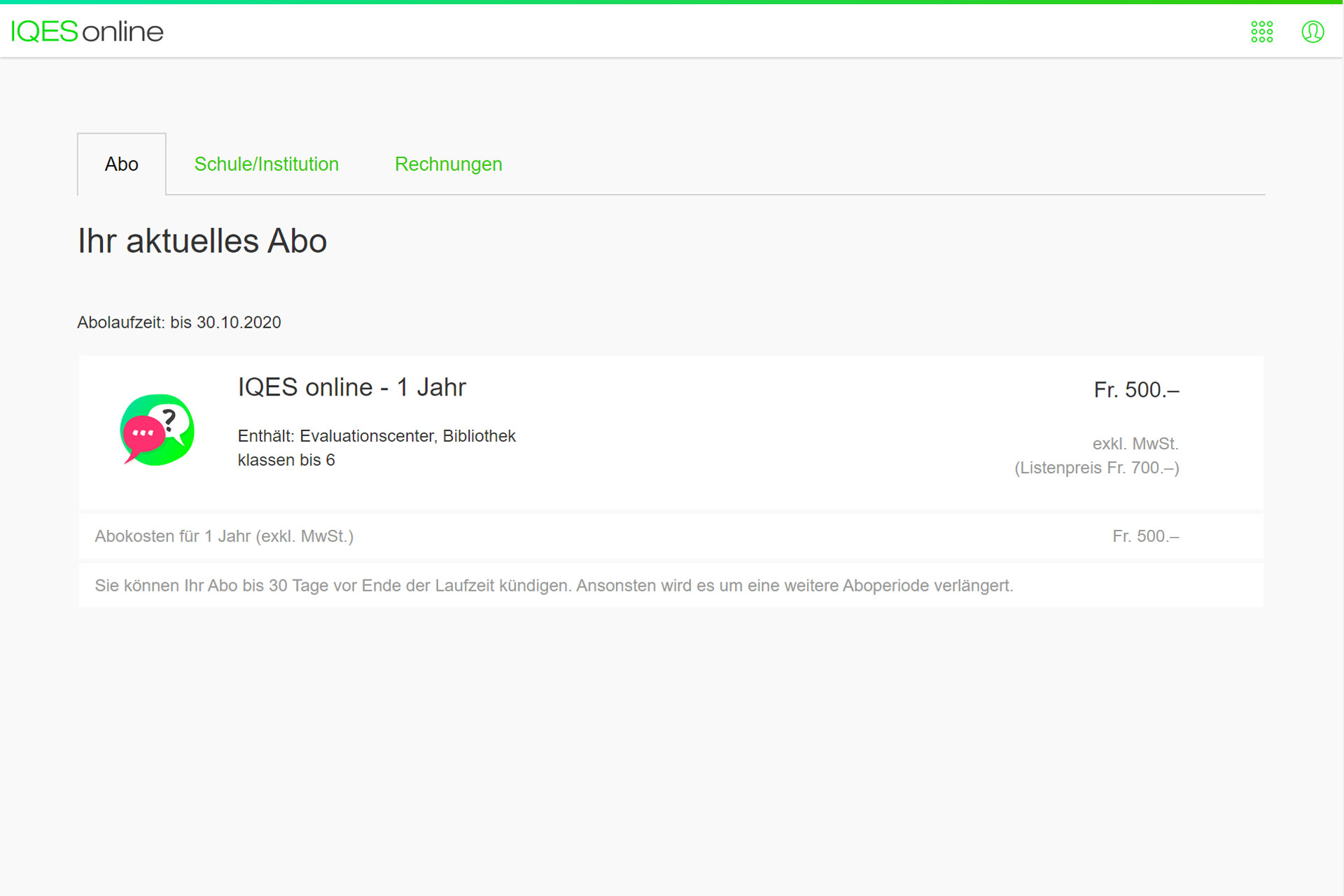 Screenshot Aboverwaltung aktuelles Abo