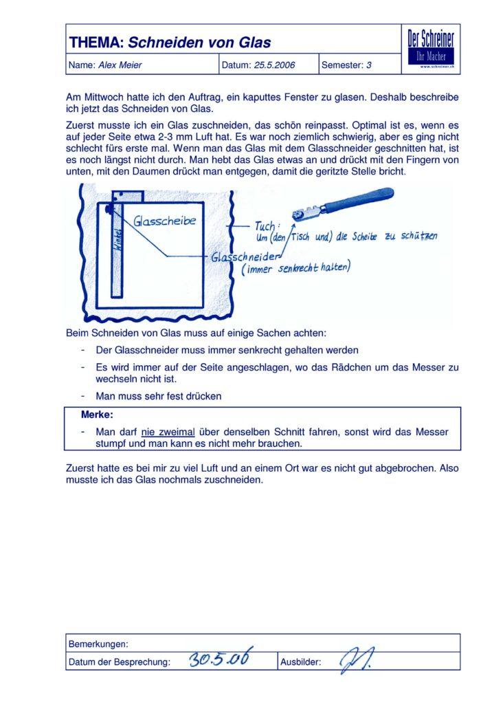 Beispiel einer Lerndokumentation: Schneiden mit Glas