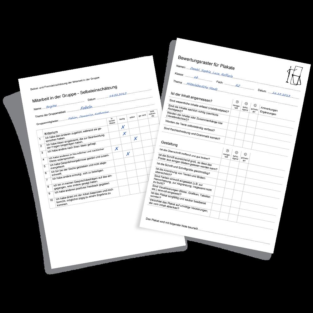 zwei Beispiele von Bewertungsinstrumenten