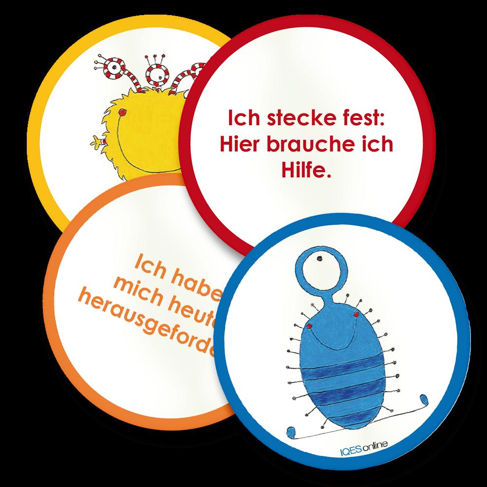 vier Badges aus der Sammlung von Selbstreflexions-Badges