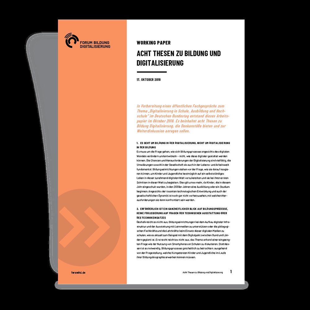 Titelseite Working Paper Acht Thesen zu Bildung und Digitalisierung