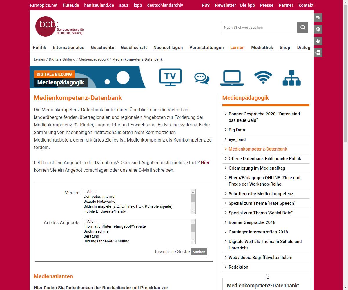 Screenshot Webseite bpb Bundeszentrale für politische Bildung (17.03.2020)