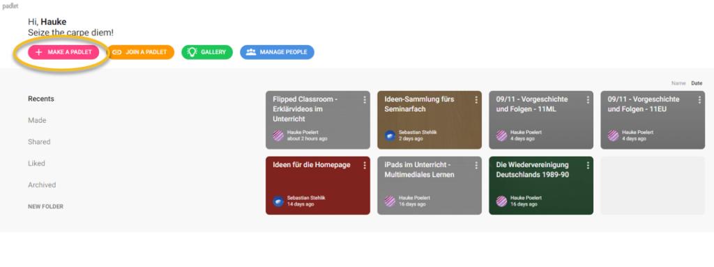 Screenshot Einstieg in Padlet: Erstellen