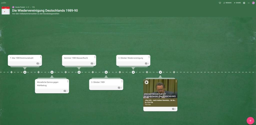 Beispiel eines Zeitleisten-Padlets (in der Entstehung) zur Wiedervereinigung Deutschland 1989-90 - mit Text und Videos