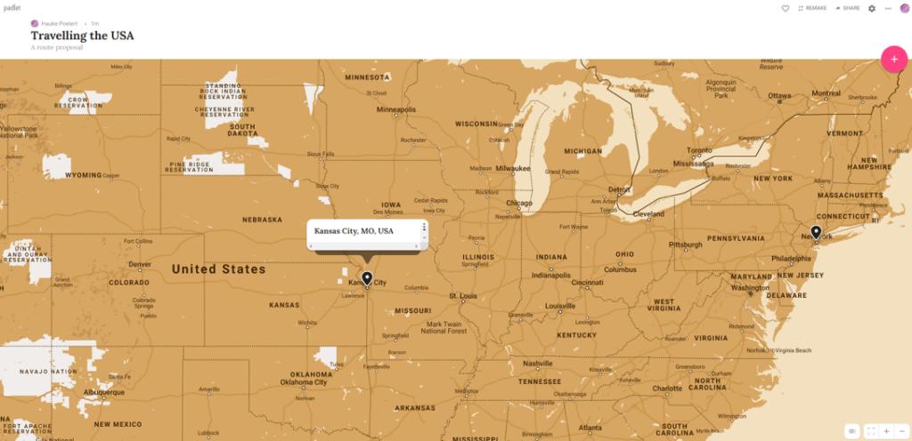 """Beispiel eines Landkarten-Padlets """"Rundreise durch die USA"""""""