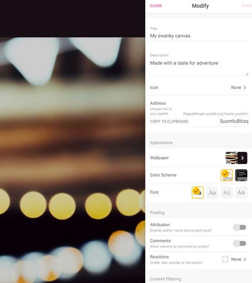 Screenshot Padlet mit wesentlichen Einstellungen - Zahnrad