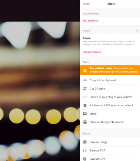 Screenshot Padlet in den Datenschutz-, Teilen- und Exportoptionen - Share-Button
