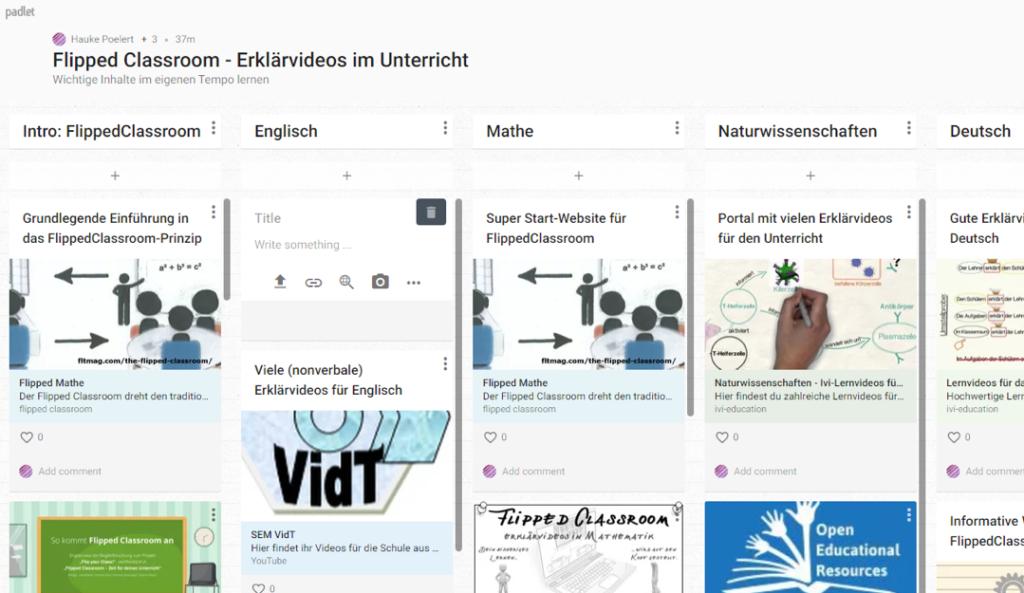 Screenshot des Padlets Flipped Classrom - Erklärvideos im Unterricht