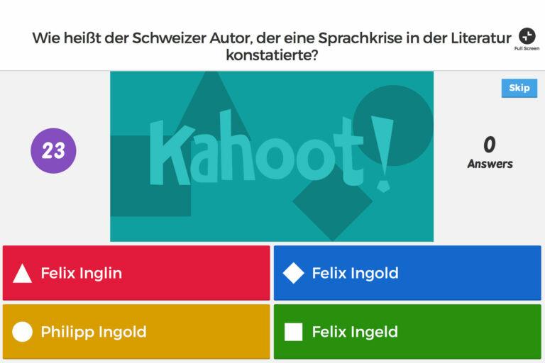 Screenshot einer Kahoot-Aufgabe