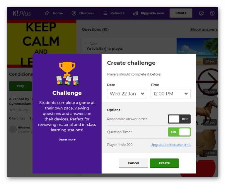 Screenshot Kahoot Challenge Hausaufgabe