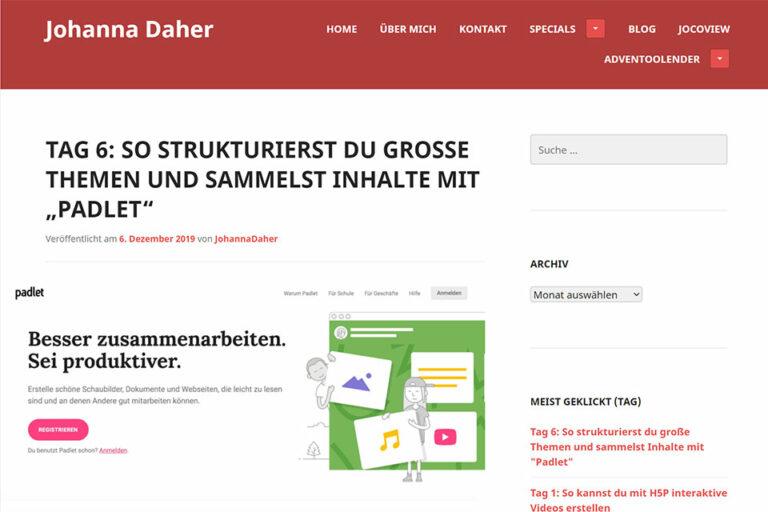 zum Beitrag So strukturierst du große Themen und sammelst Inhalte mit Padlet von Johanna Daher