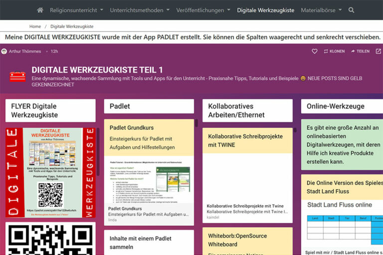 Screenshot Padlet Werkzeugkiste