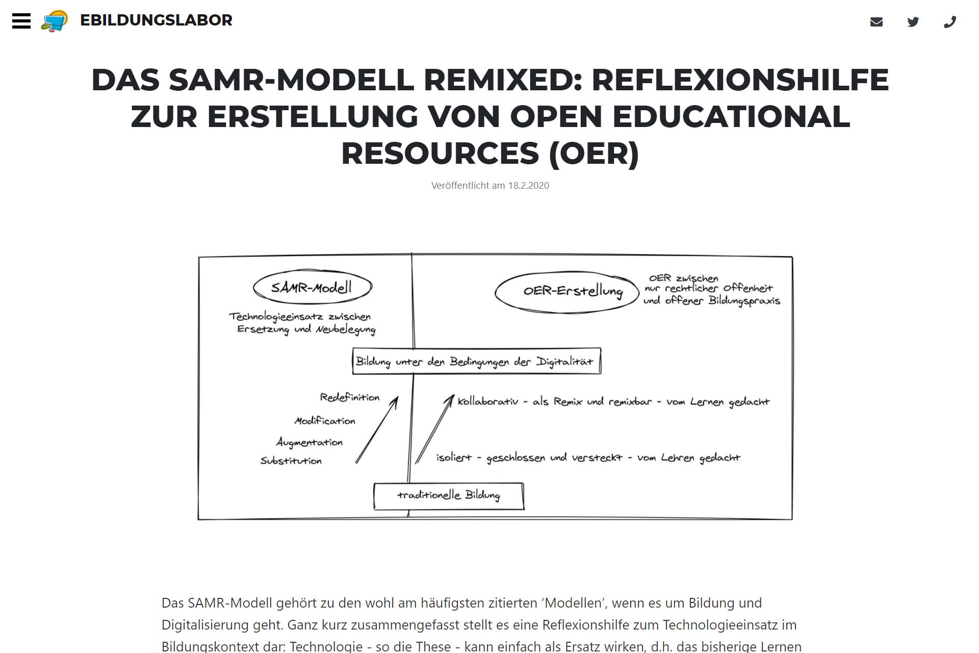 zum SAMR-Modell auf www.ebildungslabor.de