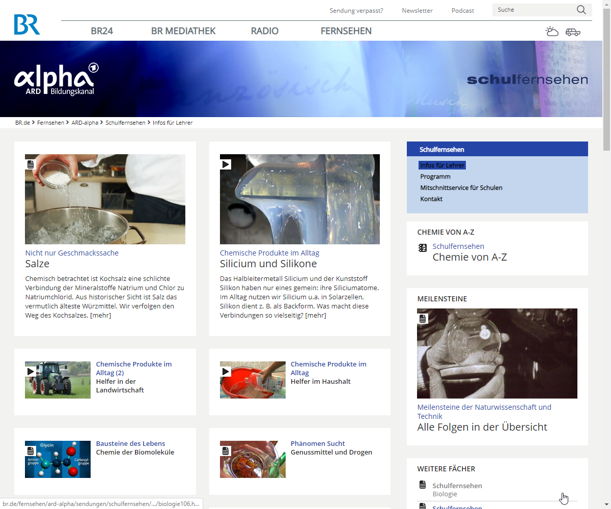 Screenshot Webseite ARD Alpha Bildungskanal (17.03.2020)