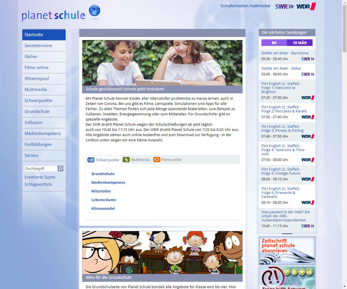 Screenshot Webseite planet schule Schulfernsehen SWR/WDR (17.03.2020)