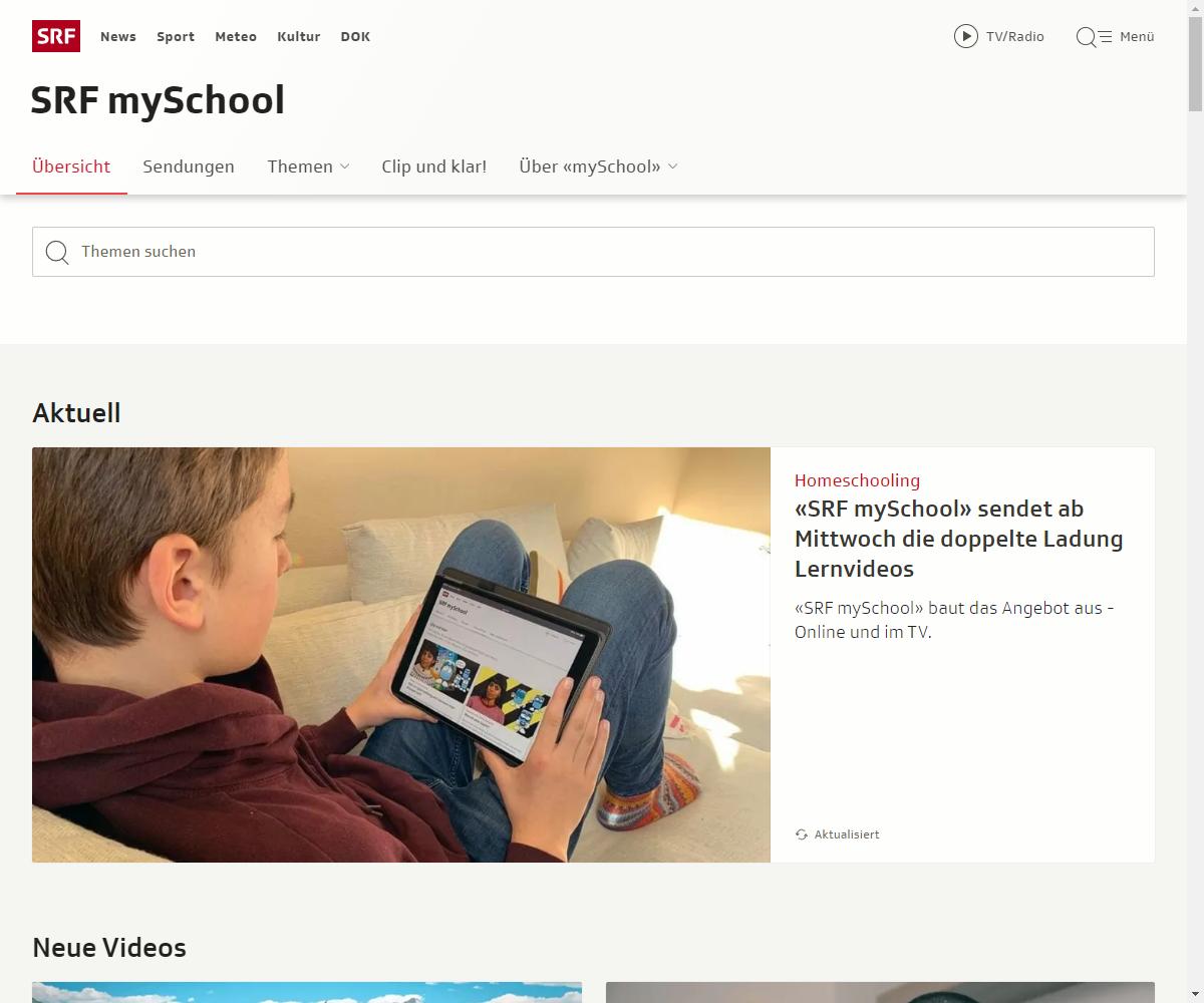 Screenshot Webseite SRF mySchool (17.03.2020)
