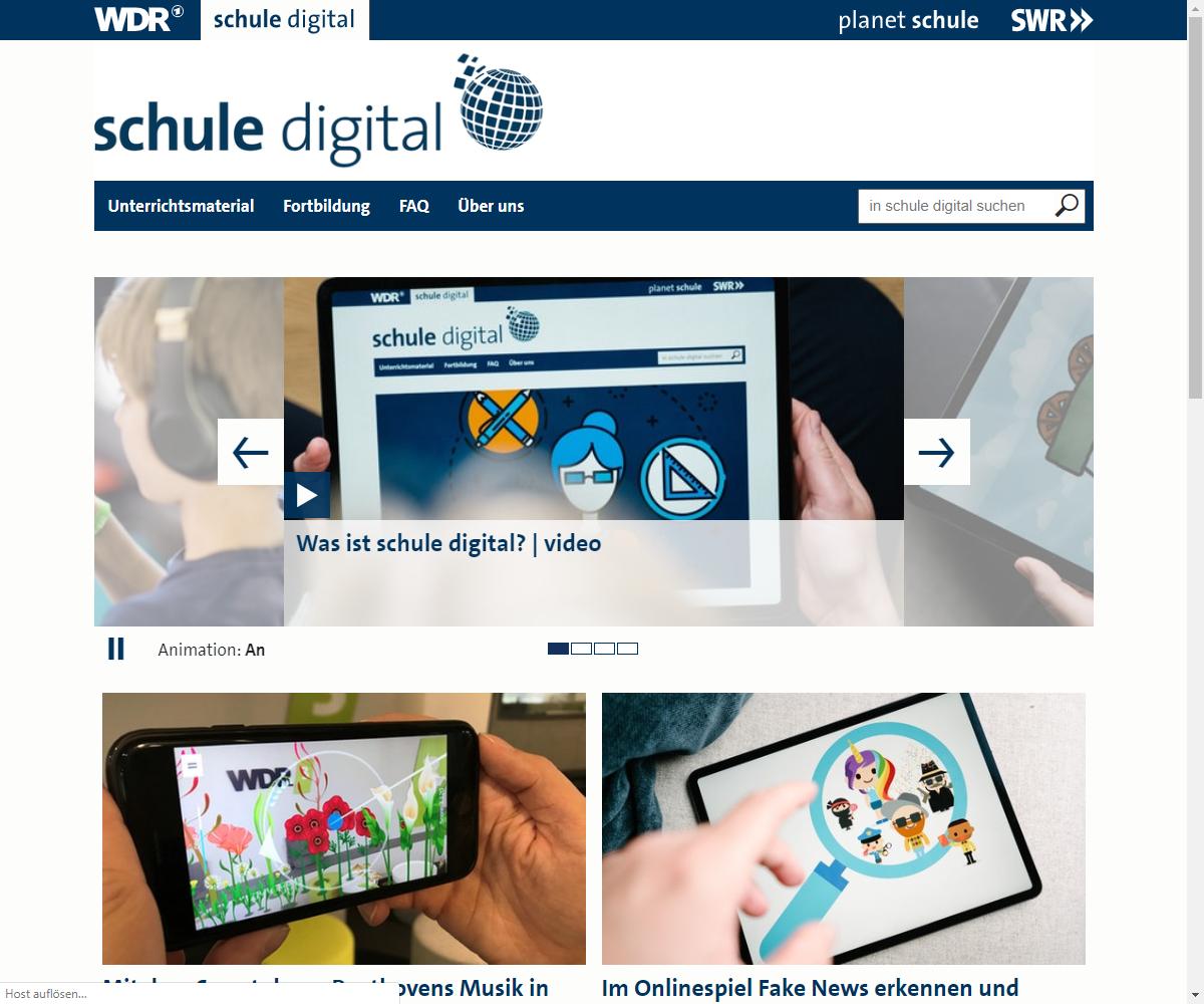 Screenshot Webseite schule digital WDR (17.03.2020)