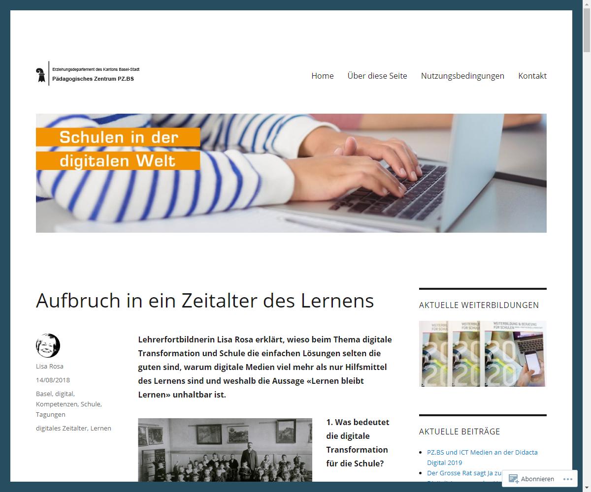 Screenshot Webseite Schulen in der digitalen Welt Pädagogisches Zentrum PZ.BS (17.03.2020)